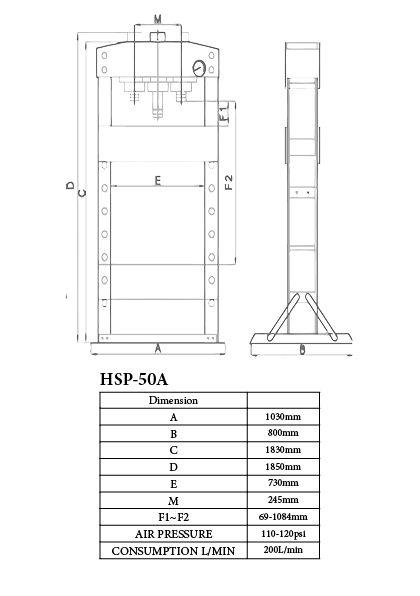 Baileigh HSP-50A Workshop Hydraulic Press 50 ton Air / hand version